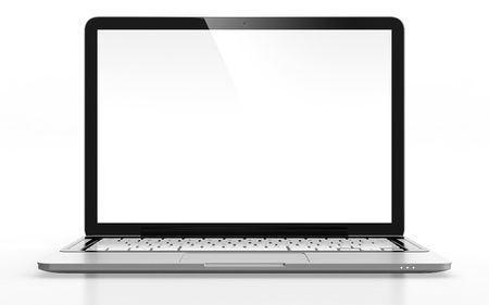 Photo for 3D image of modern laptop with blank screen isolated on white - Royalty Free Image