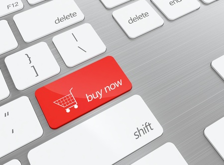3D illustration of keyboard with red shopping button