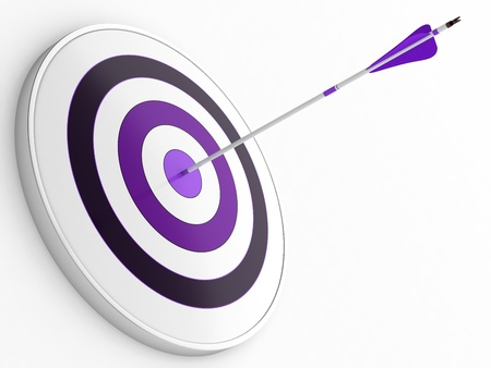 3D illustration of purple arrow hitting targets bullseye