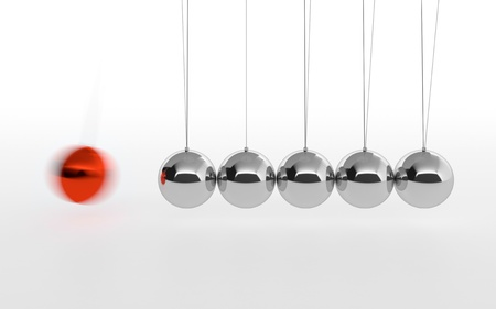 3D illustration of Newton's cradle with one red ball isolated on white