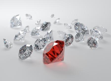 3D illustration of gems on gray background