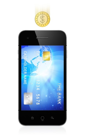 3D illustration of modern smartphone with credit card on screen isolated on white background. Mobile banking concept.の写真素材