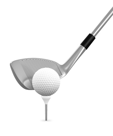 3d render of golf ball and club isolated on white background