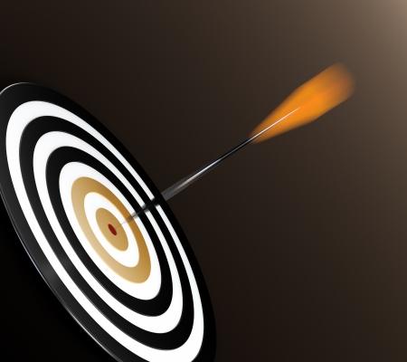 3D illustration of orange dart hitting targets bullseye