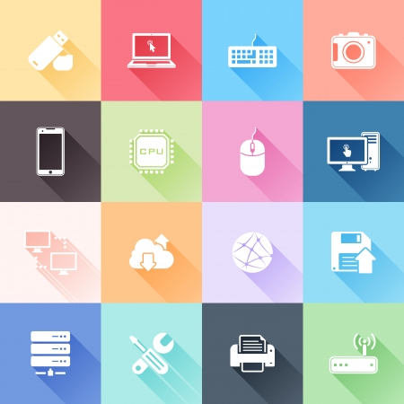 Vector set of 16 flat technology icons with long shadow
