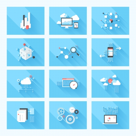 Vector illustration concept of SEO optimization, data analysis and storage, cloud computing and program coding isolated on blue background with long shadow.