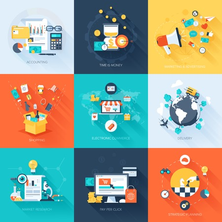 Illustration pour Vector collection of flat and colorful business and finance concepts with long shadow. Design elements for web and mobile applications. - image libre de droit