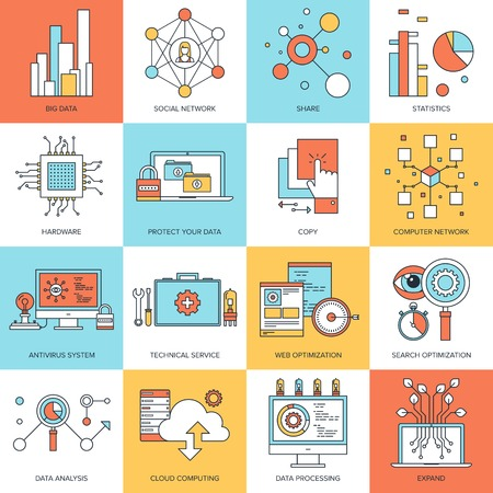Vector set of flat line concepts on technology theme . Design elements for web and mobile applications.