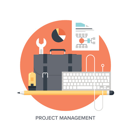 Vector illustration of project management flat design concept.