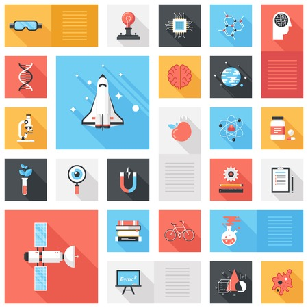 Abstract vector collection of colorful flat science and technology iconswith long shadow. Design elements for mobile and web applications.