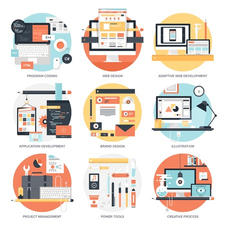 Illustration for Abstract flat vector illustration of design and development concepts. Elements for mobile and web applications. - Royalty Free Image