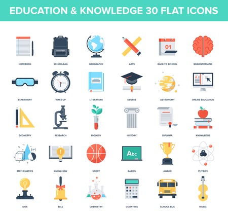 Illustration pour Abstract vector set of colorful flat education and knowledge icons. Creative concepts and design elements for mobile and web applications. - image libre de droit