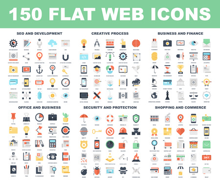 Illustration for Vector set of 150 flat web icons on following themes - SEO and development, creative process, business and finance, office and business, security and protection, shopping and commerce. - Royalty Free Image
