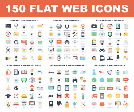 Photo for Vector set of 150 flat web icons on following themes - SEO and development, business and finance, education and knowledge, technology and hardware, shopping and commerce. - Royalty Free Image