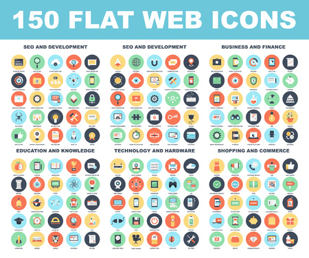 Illustration for Vector set of 150 flat web icons on following themes - SEO and development, business and finance, education and knowledge, technology and hardware, shopping and commerce. - Royalty Free Image