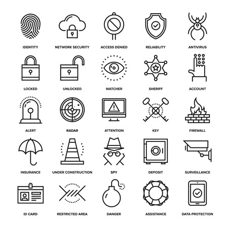Ilustración de Abstract vector collection of line security and protection icons. Elements for mobile and web applications. - Imagen libre de derechos