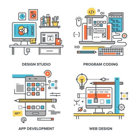 Illustration pour Vector set of conceptual flat line illustrations on following themes - design studio, program coding, app development, web design - image libre de droit