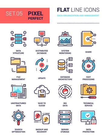 Illustration for Vector set of pixel perfect based on 64 px grid colorful flat line web icons on data organization and management theme. - Royalty Free Image