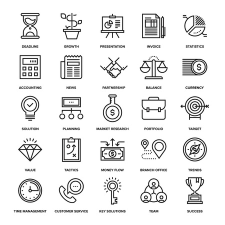 Illustration for Abstract vector collection of line business and finance icons. Elements for mobile and web applications. - Royalty Free Image