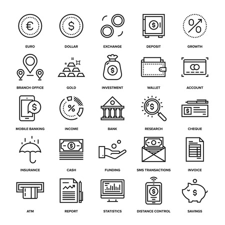 Abstract vector collection of line banking and money icons. Elements for mobile and web applications.