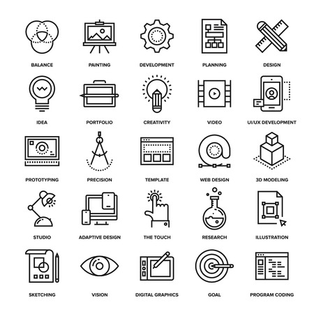 Illustration pour Abstract vector collection of line design and development icons. Elements for mobile and web applications. - image libre de droit