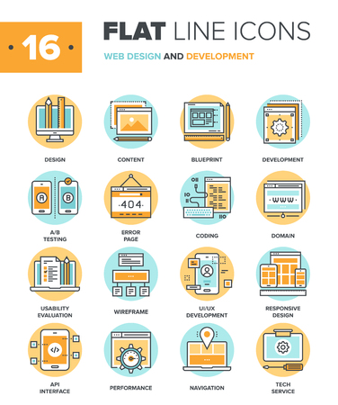 Illustration pour Abstract vector collection of flat line web design and development icons. Elements for mobile and web applications. - image libre de droit