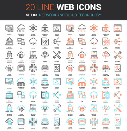 Illustration pour Vector set of network and cloud technology line web icons. Each icon with adjustable strokes neatly designed on pixel perfect 64X64 size grid. Fully editable and easy to use. - image libre de droit