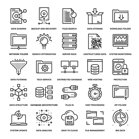 Illustration pour Abstract collection of line data management icons. Elements for mobile and web applications. - image libre de droit