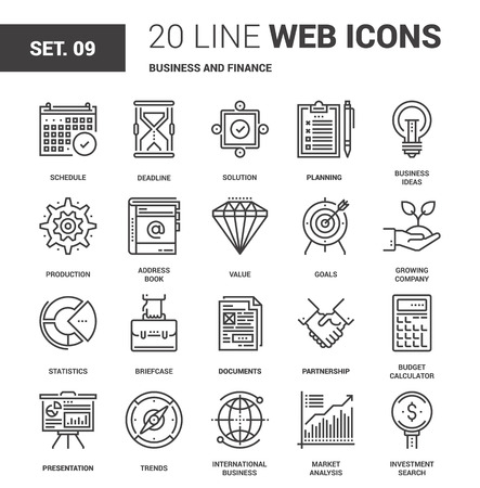 Ilustración de Vector set of business and finance line web icons. Each icon with adjustable strokes neatly designed on pixel perfect 64X64 size grid. Fully editable and easy to use. - Imagen libre de derechos