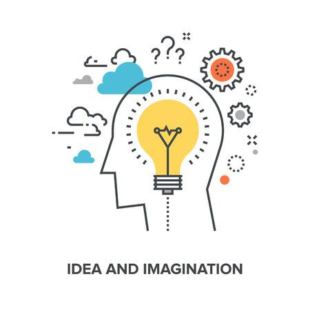 Illustration pour Vector illustration of idea and imagination flat line design concept. - image libre de droit