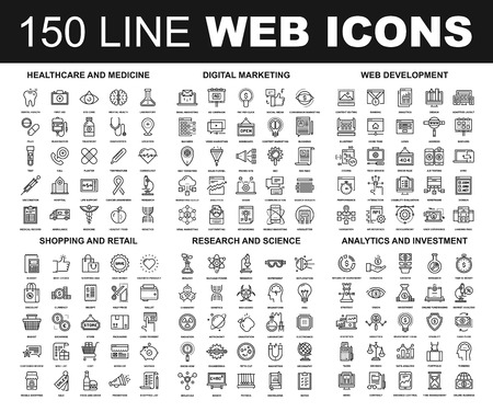 Ilustración de Vector set of 150 flat line web icons on following themes - healthcare and medicine, digital marketing, web development, shopping and retail, research and science, analytics and investment - Imagen libre de derechos