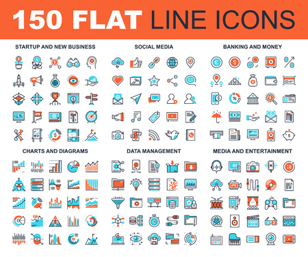 Illustration pour Vector set of 150 flat line web icons on following themes - startup and new business, social media, banking and money, charts and diagrams, data management, media and entertainment - image libre de droit