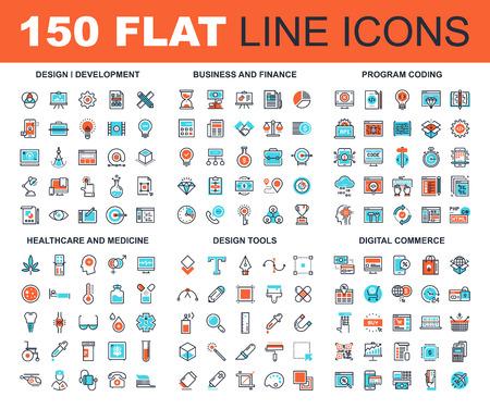 Ilustración de Vector set of 150 flat line web icons on following themes - design and development, business and finance, program coding, healthcare and medicine, design tools, digital commerce - Imagen libre de derechos