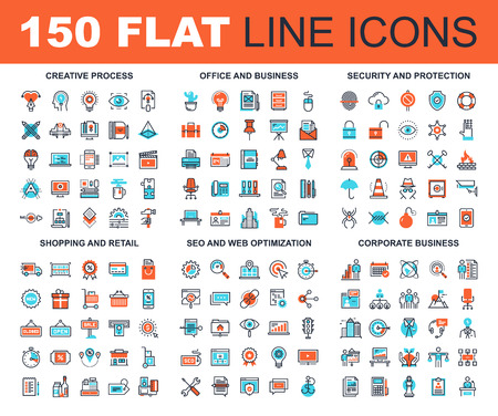 Photo pour Vector set of 150 flat line web icons on following themes - creative process, corporate business, office and business, security and protection, shopping and retail, SEO and web optimization - image libre de droit