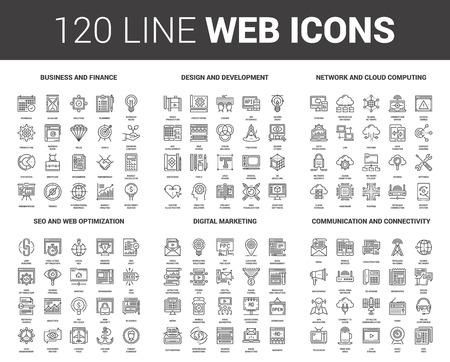 Illustration for Flat Line Web Icons - Royalty Free Image