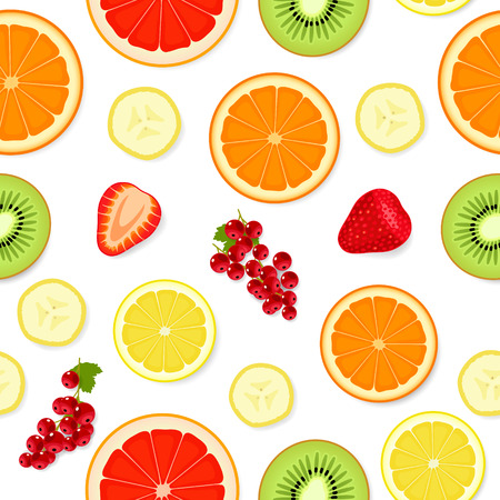 Seamless pattern with various sliced multicolored fruit and berries