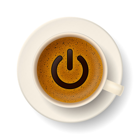 Coffee cup with froth in from of power-up symbol. Energy and vivacity for active life.