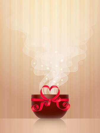 Ceramic cup, tied by red ribbon with heart-shaped bow, light steam on wooden background. Favourite drink concept