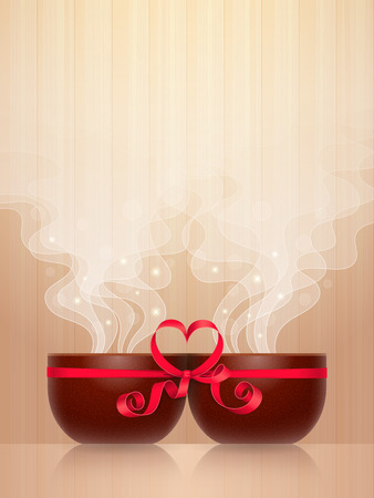 Two ceramic cups, tied together by red ribbon with heart-shaped bow, light steam on wooden background. Pleasant pastime for enamored couple