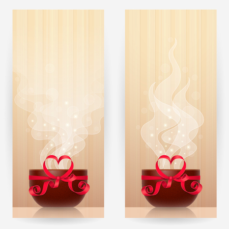Two backgrounds with brown cups, tied by red ribbon with heart-shaped bow, with light steam above. Favourite drink concept