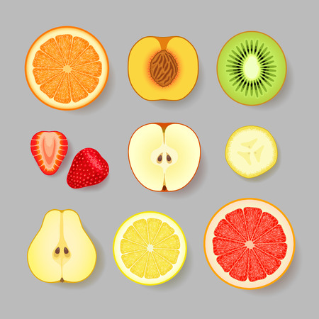 Various fruits and berries on gray background