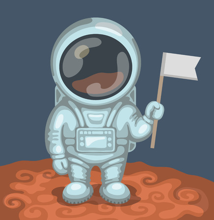 Funny astronaut dressed in white spacesuit is standing on red planet and holding in his hand small flag. Expedition to Mars and space exploration concept