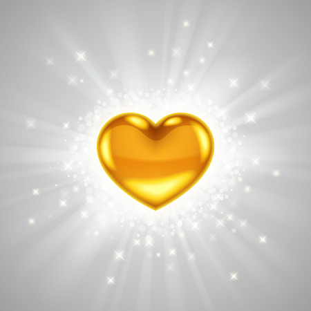 Gold heart in bright light radiance, with glitters, sparkles and beams around