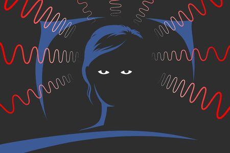 Illustration pour Woman is lying on bed at deep night and can't to sleep because of obsessive thoughts, anxiety, emotional stress and depression, looking with displeasure tiredly at ceiling. Insomnia concept - image libre de droit