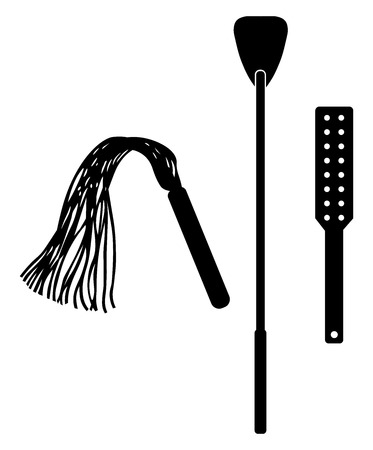 Illustration pour Spanking accessory. Accessory tool toy for BDSM. Isolated on white vector illustration - image libre de droit