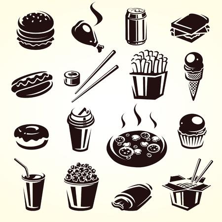 Fast food set  Vector illustration