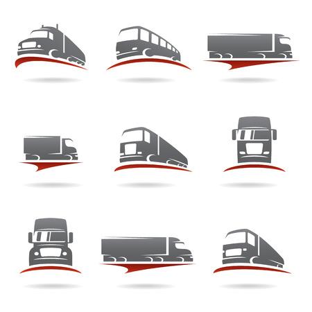 Illustration for Trucks set  Vector - Royalty Free Image