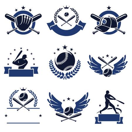 Baseball labels and icons set  Vector