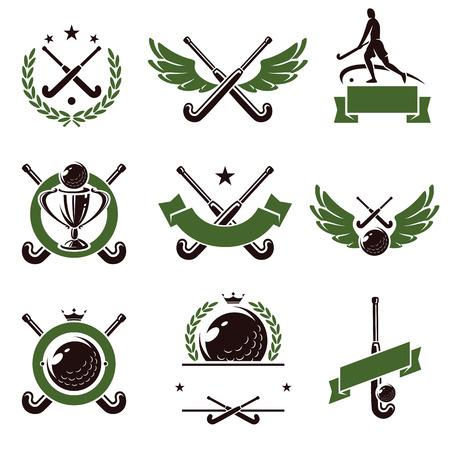 Illustration pour Hockey field labels and icons set  Vector - image libre de droit