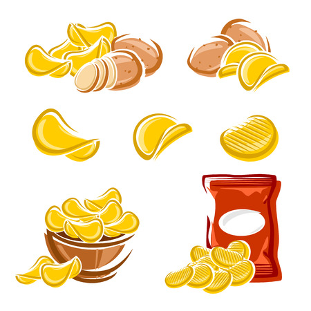Potato chips set  Vector diet, delicious, eating